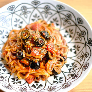 Pasta Puttanesca using Japanese Noodles