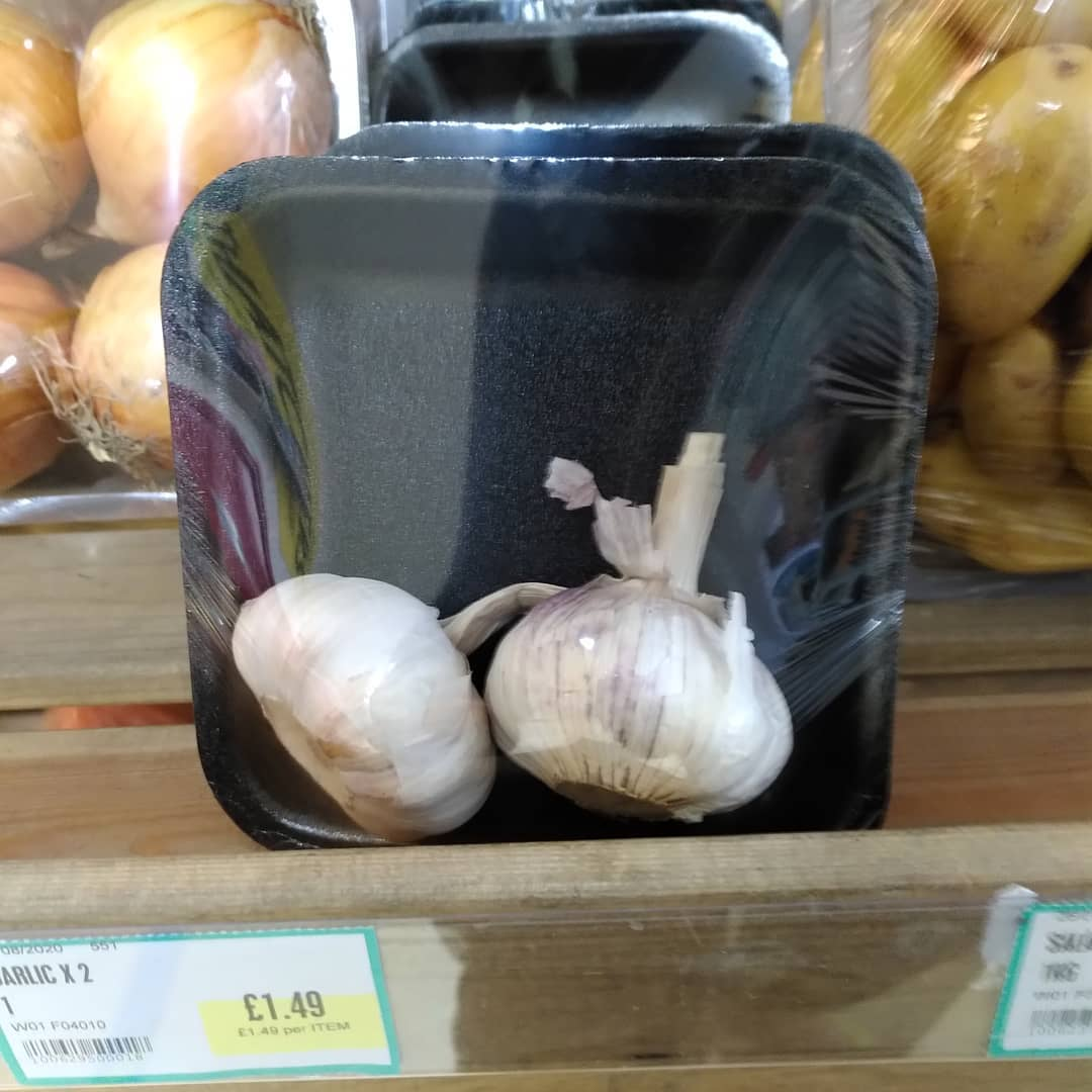 Garlic wrapped in plastic