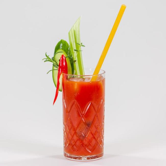 Bloody Mary / Virgin Mary with a Stroodle and cucumber, celery, chilli garnish