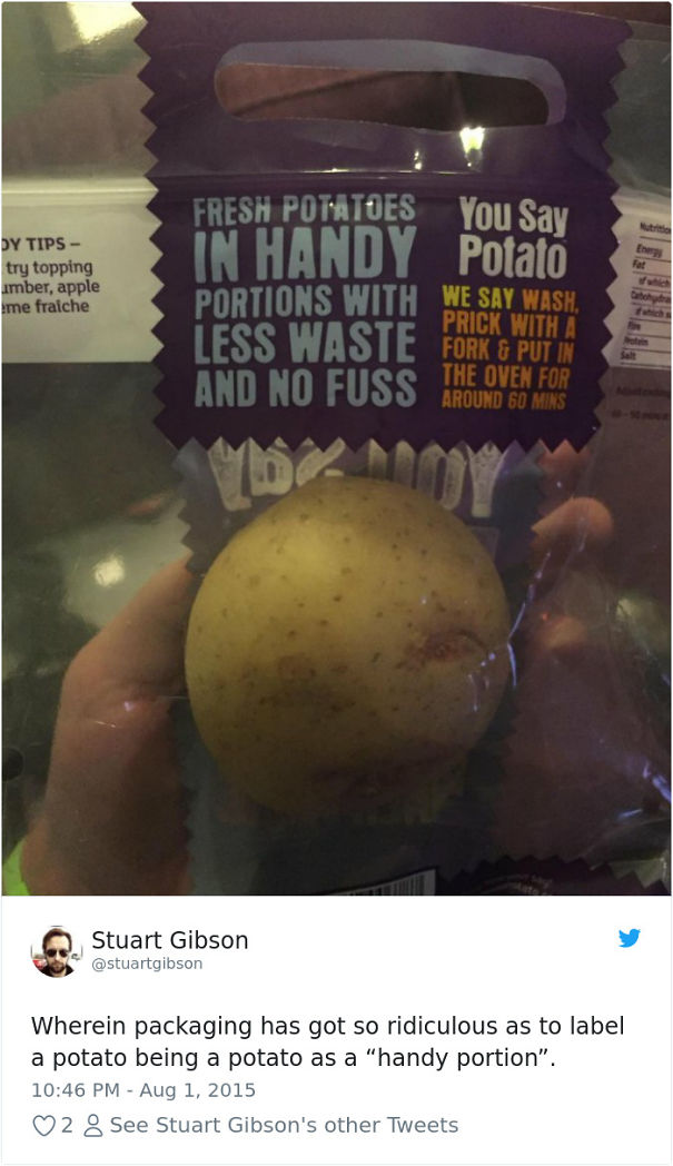 Potato wrapped in plastic