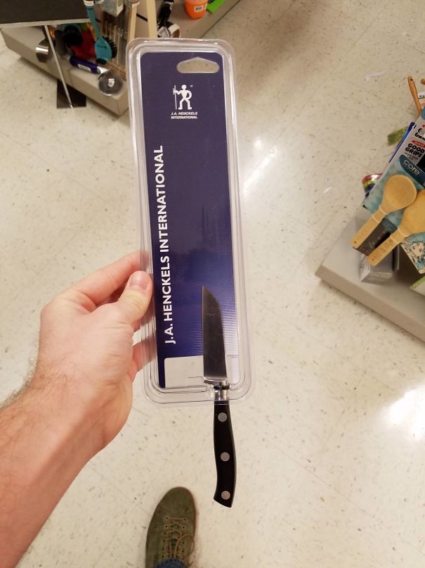 Knife wrapped in plastic