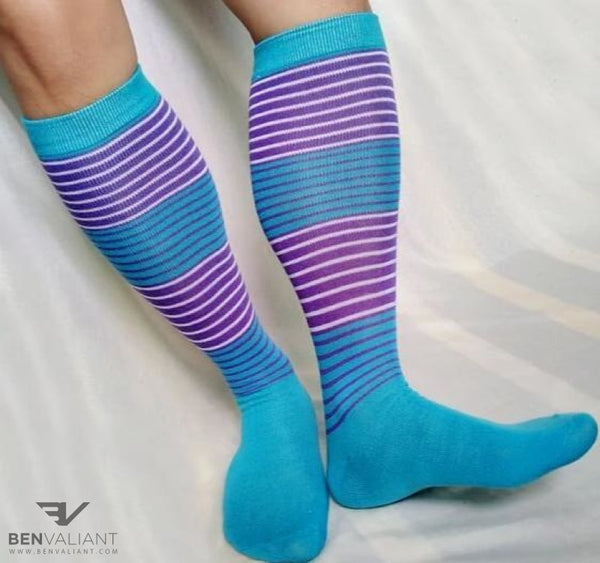 BV Violet Blue Long Socks - BV Creative Shop