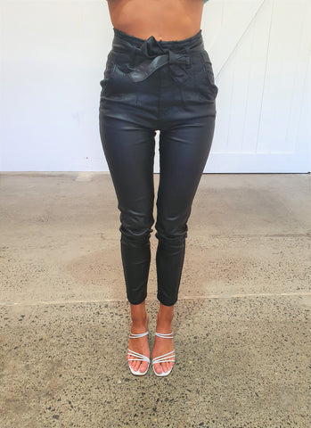 LULU PANTS  - BLACK/PLEATHER