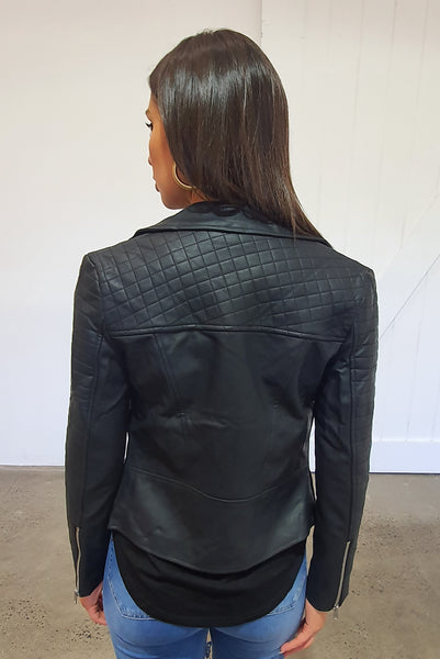 BIKER LEATHER JACKET - BLACK