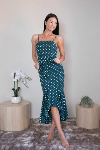 DONNA DRESS - DEEP GREEN POKA