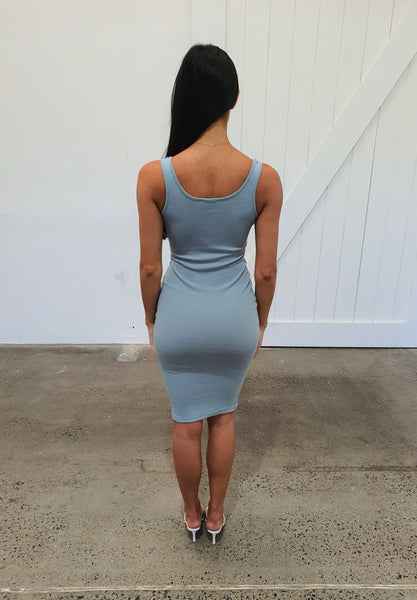 PUSH AND SHOVE DRESS - BLUE