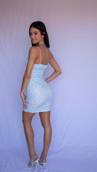 PEACHY DRESS -  BLUE/WHITE