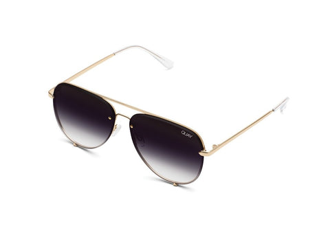 QUAY SUNGLASSES HIGH KEY MINI RIMLESS (GOLD/FADE)