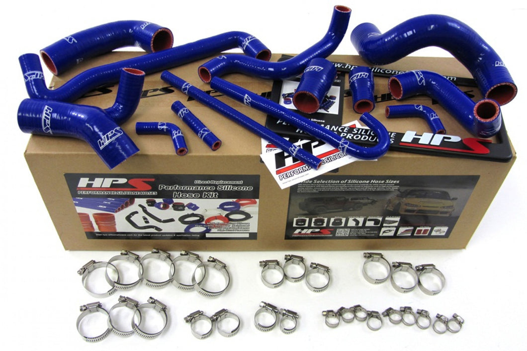 HPS BMW 88-91 E30 M3 LHD High Temp Reinforced Silicone Radiator and Heater Hose Kit Coolant OEM Replacement - Blue