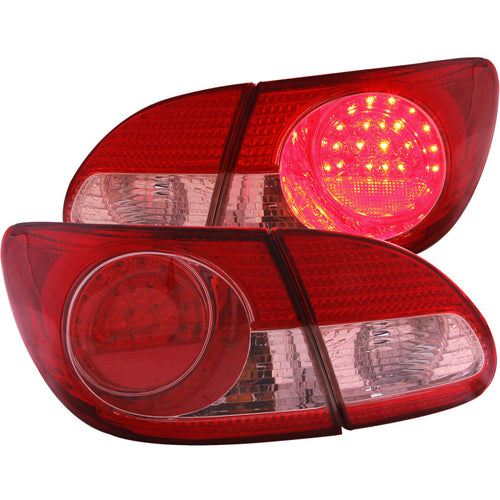ANZO 2003-2008 Toyota Corolla LED Taillights Red Clear 4pc - 321190