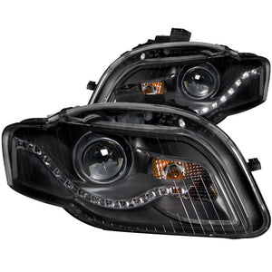 ANZO 2006-2008 Audi A4 Projector Headlights Black (R8 LED Style) - 121318