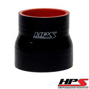 "HPS 2.75"" - 3"" ID , 3"" Long High Temp 4-ply Reinforced Silicone Reducer Coupler Hose Black (70mm - 76mm ID , 76mm Length)"