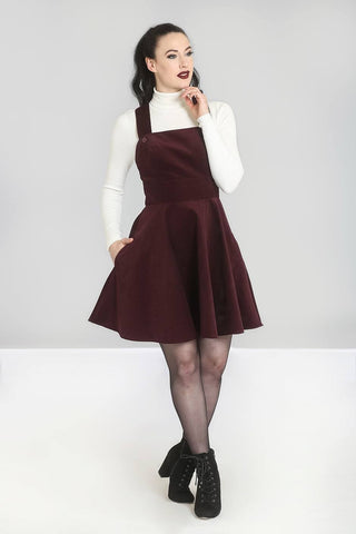 Wonder Years Pinafore Dress - Wine