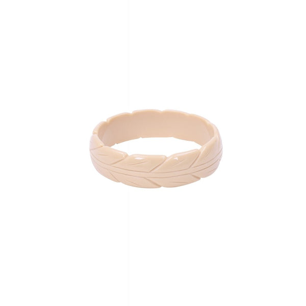 Lena Carved Bangle - Cream