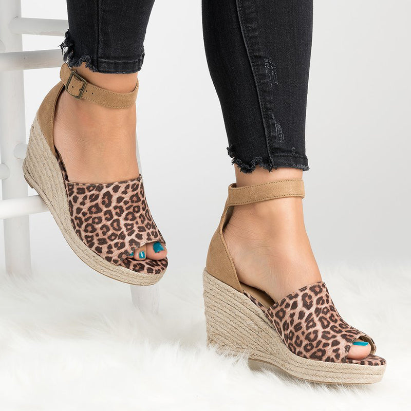 Plus Size Espadrille Wedge Peep Toe Ankle Strap Sandals