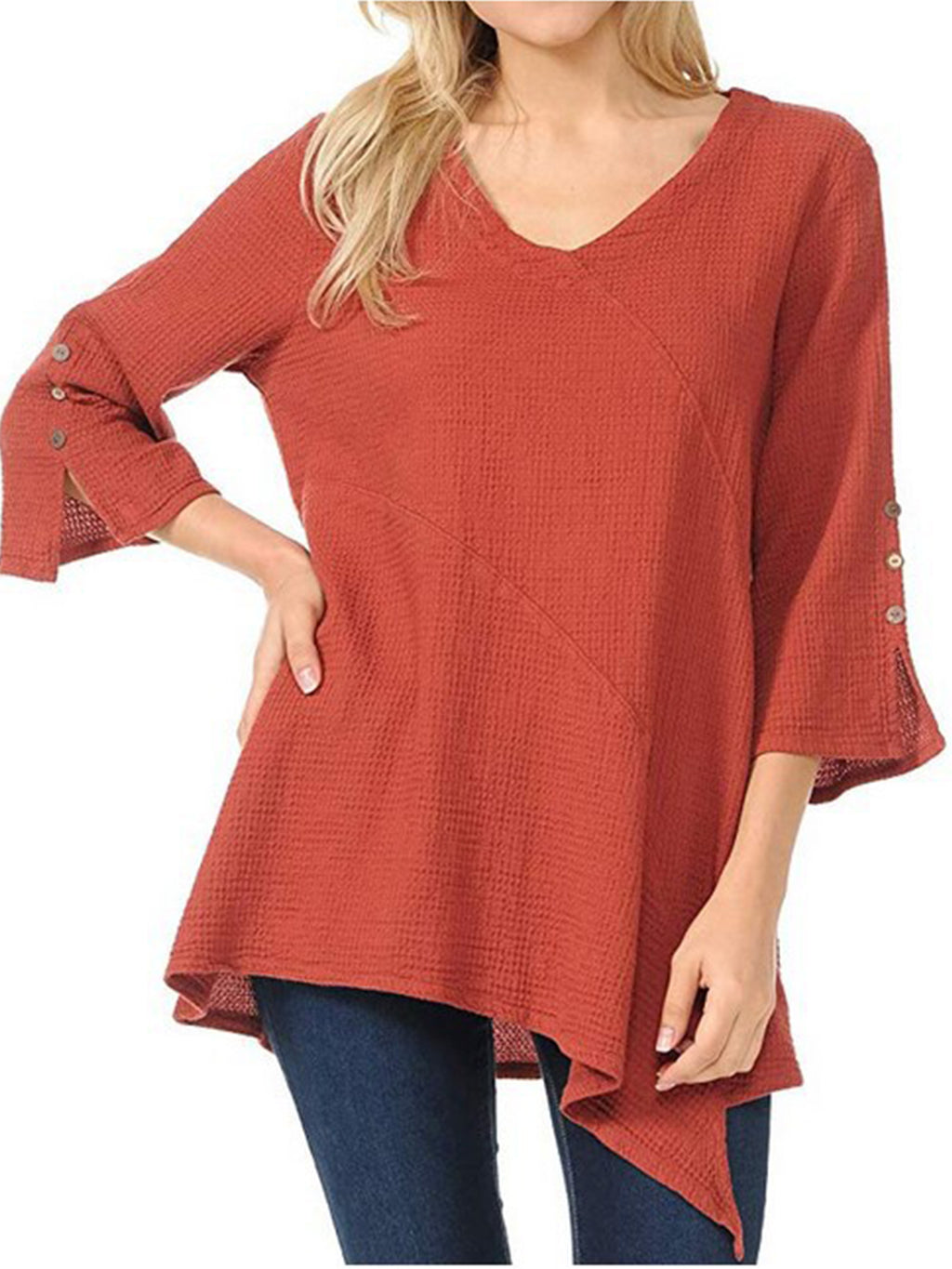 Plus Size Crew Neck 3/4 Sleeve Asymmetrical Plain Blouse