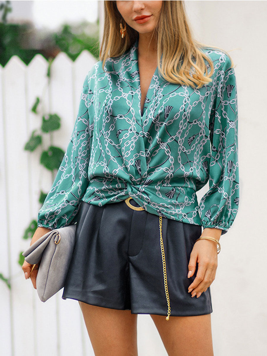 V-neck long-sleeved Floral Print Shirts Top