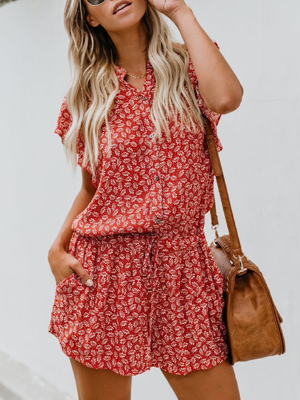 Floral Single-breasted Frill Sleeve Drawstring Jumpsuit Shorts