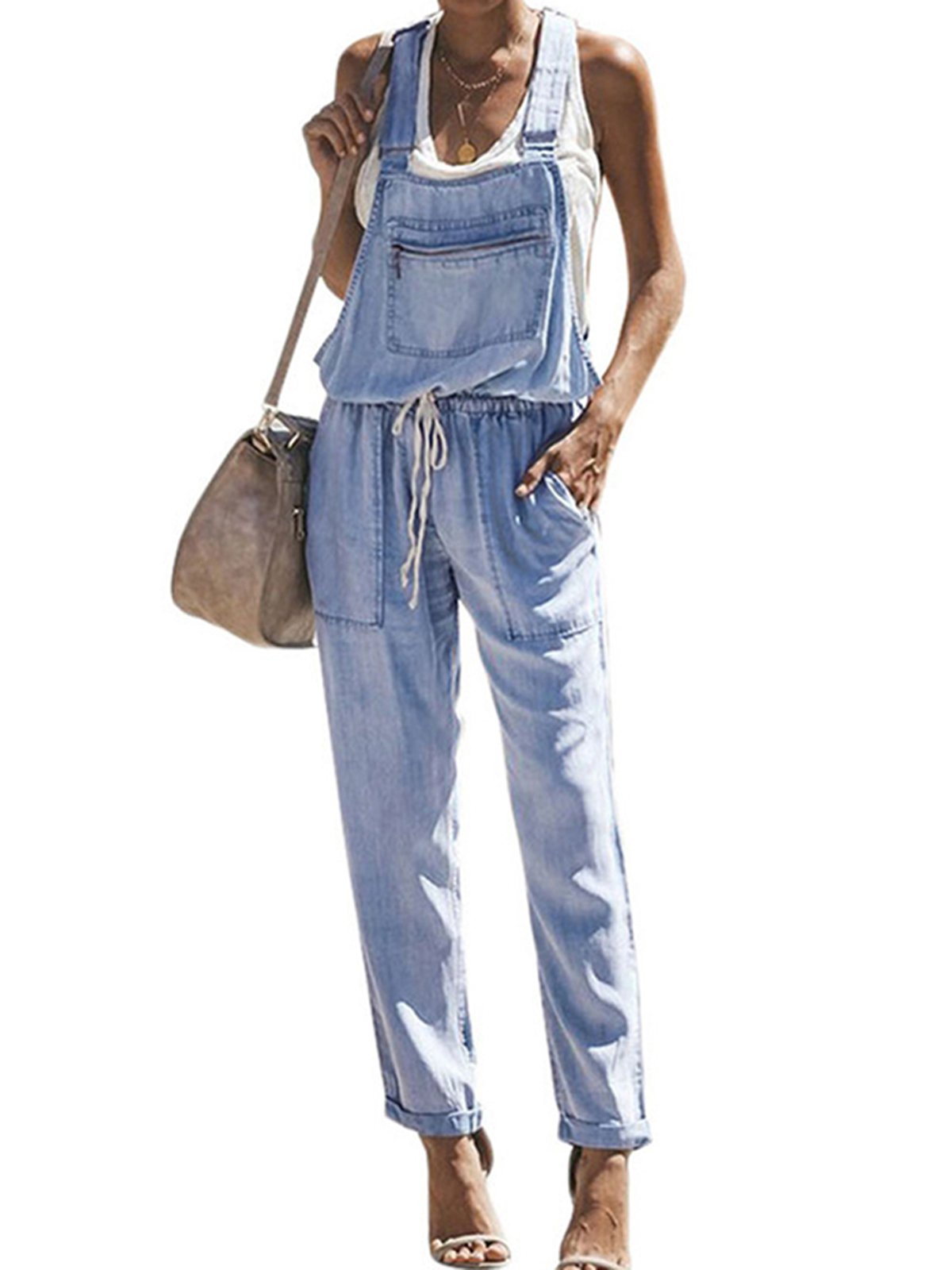 Denim Casual Loose Basic Jumpsuits&rompers