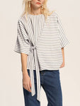 Striped Crew Neck Half Sleeve Blouse