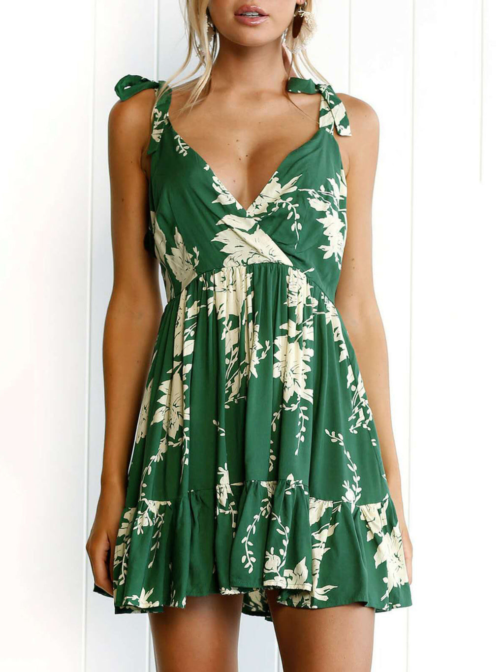 Green Spaghetti Floral Cotton Vacation Dress