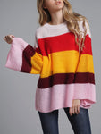Pink Casual Knitted Color-Block Crew Neck Sweater