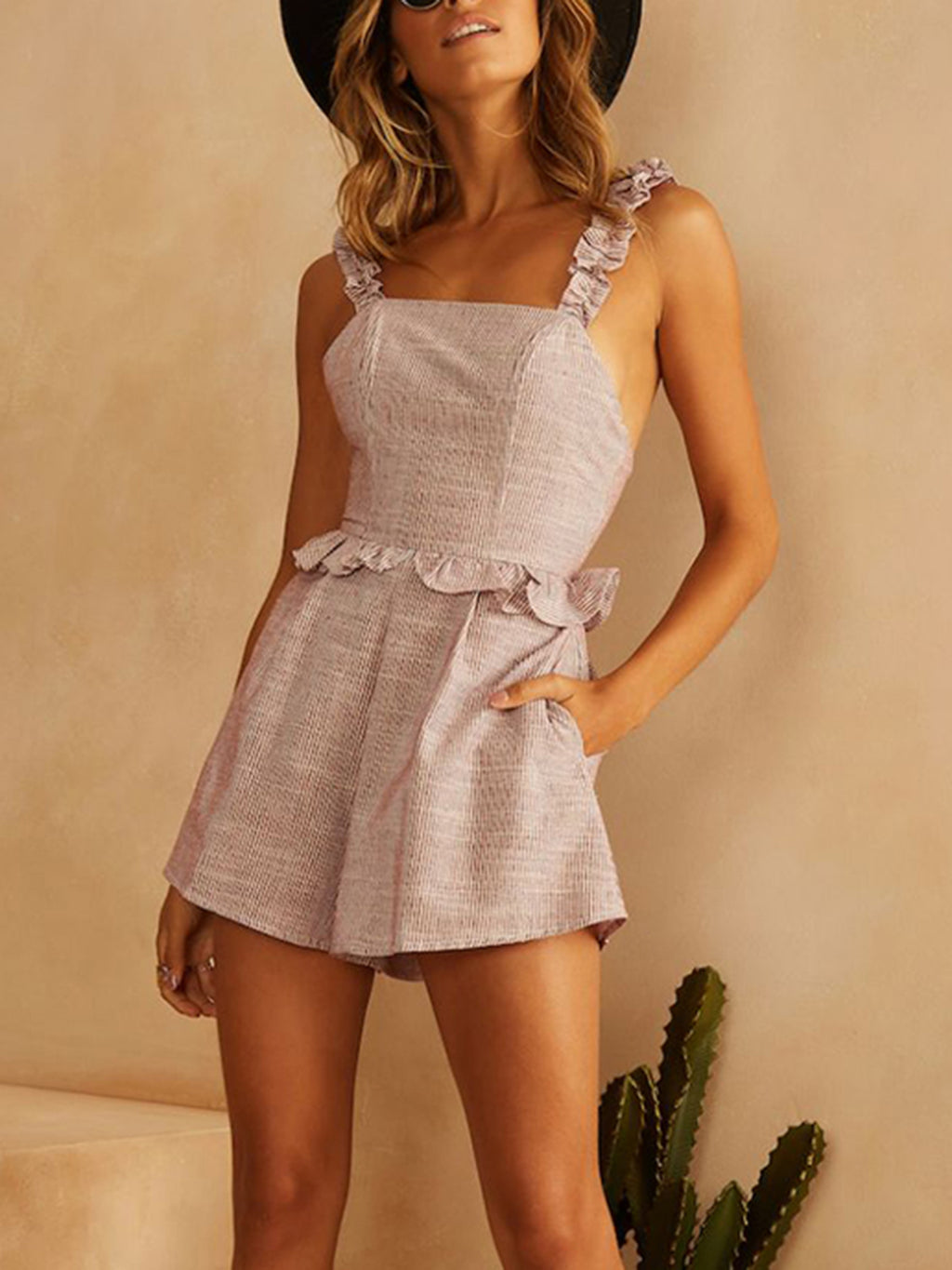 Light Pink Holiday Ruffled Sleeveless Rompers