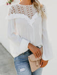 Crew Neck Patchwork Lace Blouse