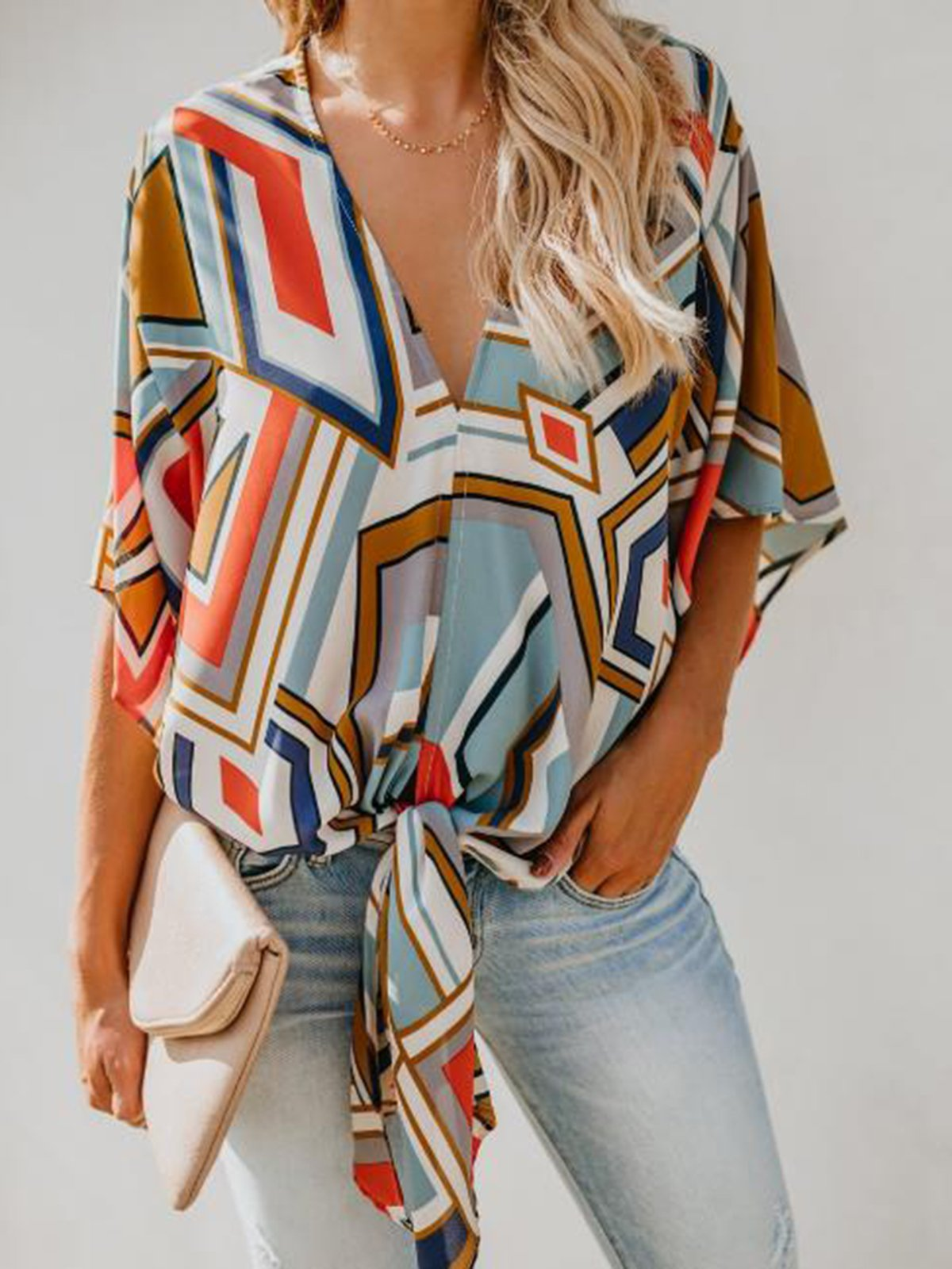 Casual V Neck Loose Blouse