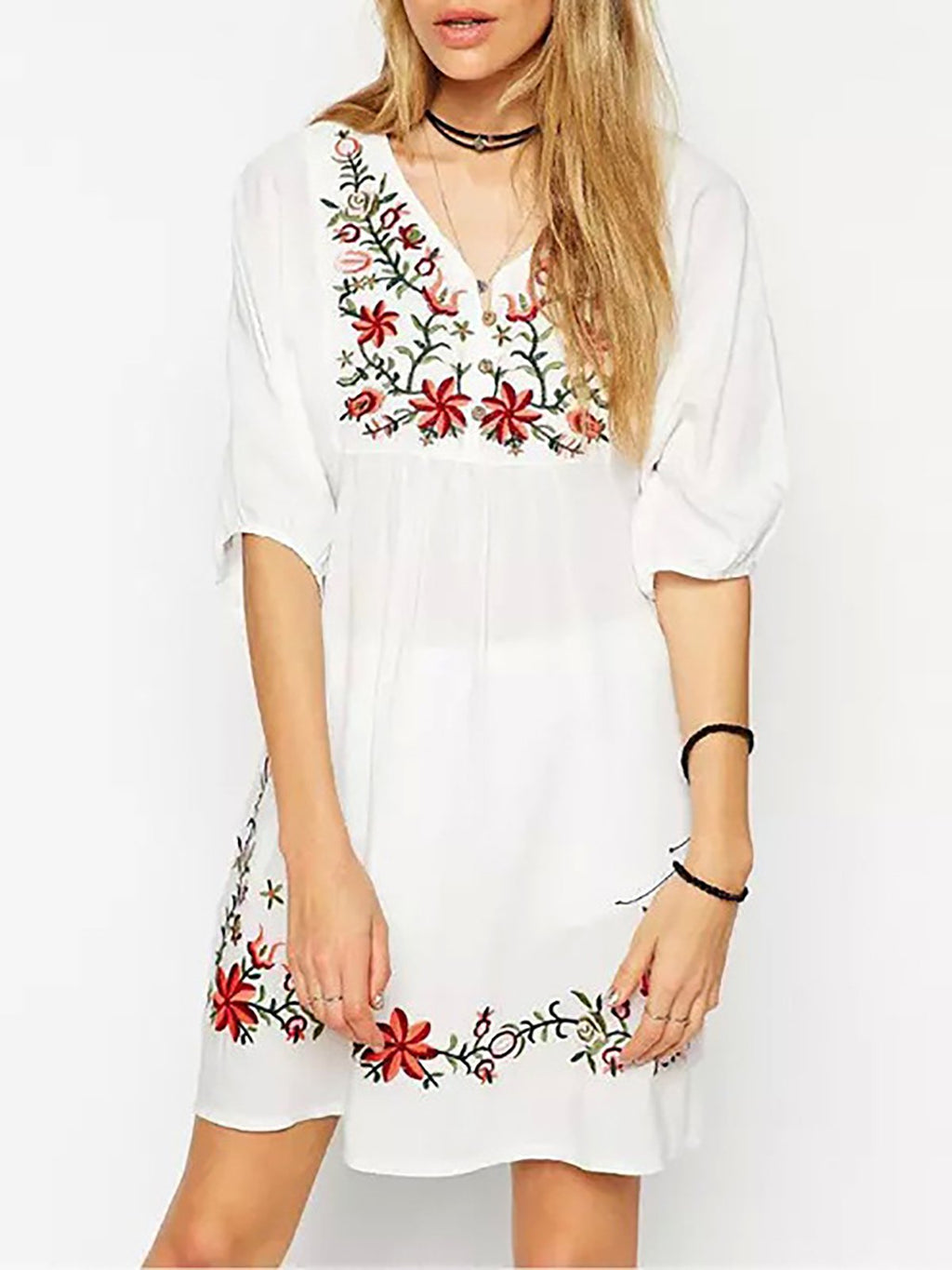Embroidery V neck Half Sleeve Vintage Dresses