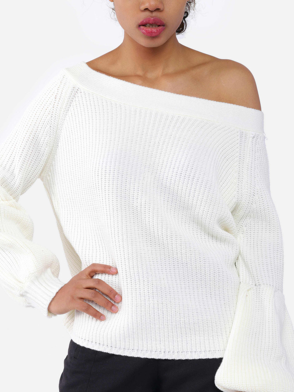 Balloon Sleeve Solid Off Shoulder Acrylic Sweaters