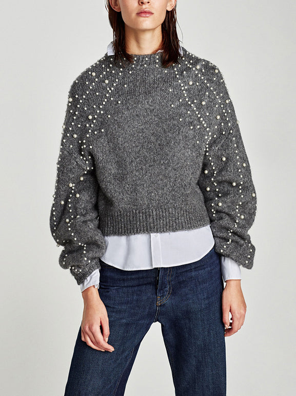 Loose-knit Crew Neck Sweater With Pearl