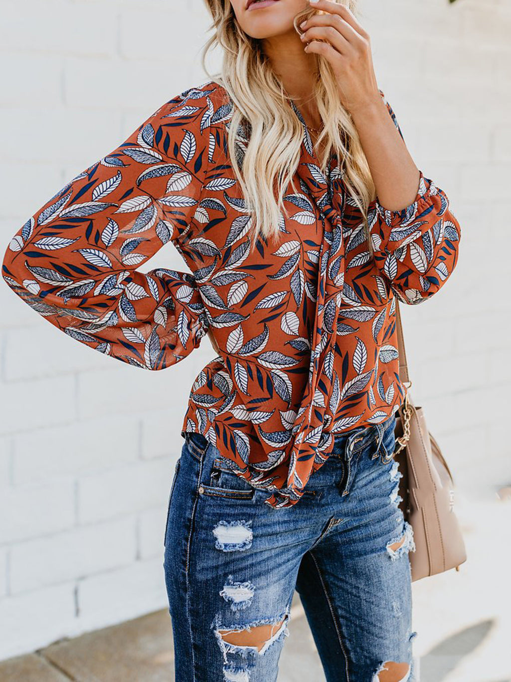 V-Neck Collar Leaf Printed Casual Blouses