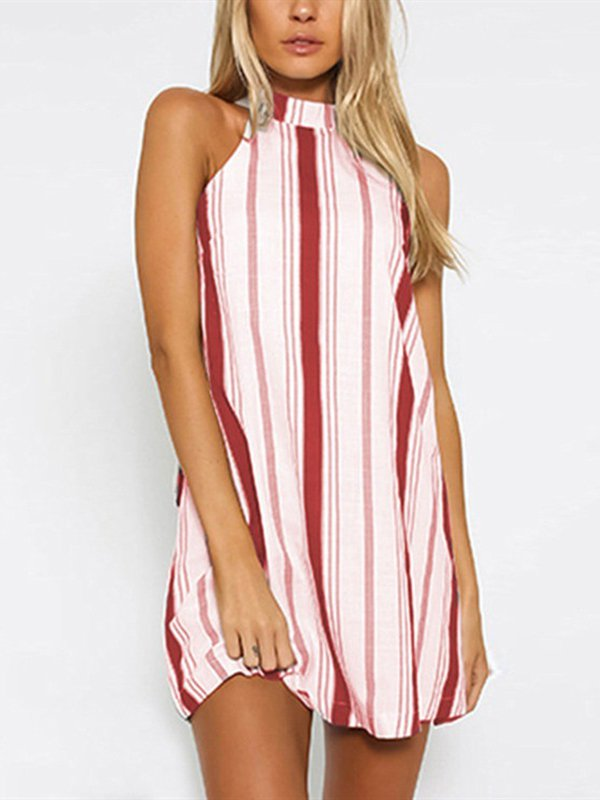 Women's Stripe Printed Lace Backless Casual Dress