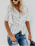 Sexy Waist Show Thin V-Neck Chiffon Bat Sleeve Shirt