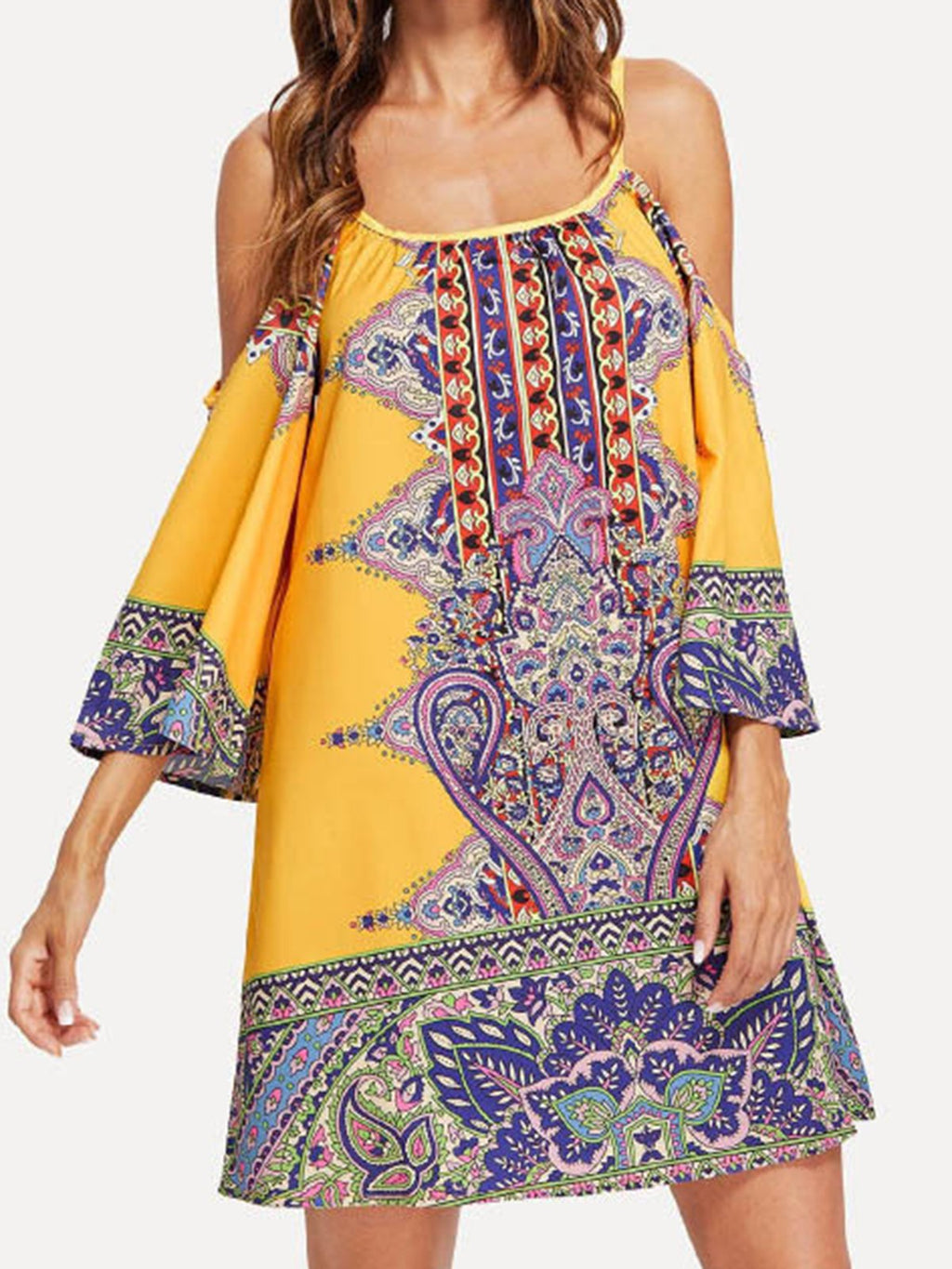Spaghetti Cold Shoulder Resort Midi Dresses Beachwear