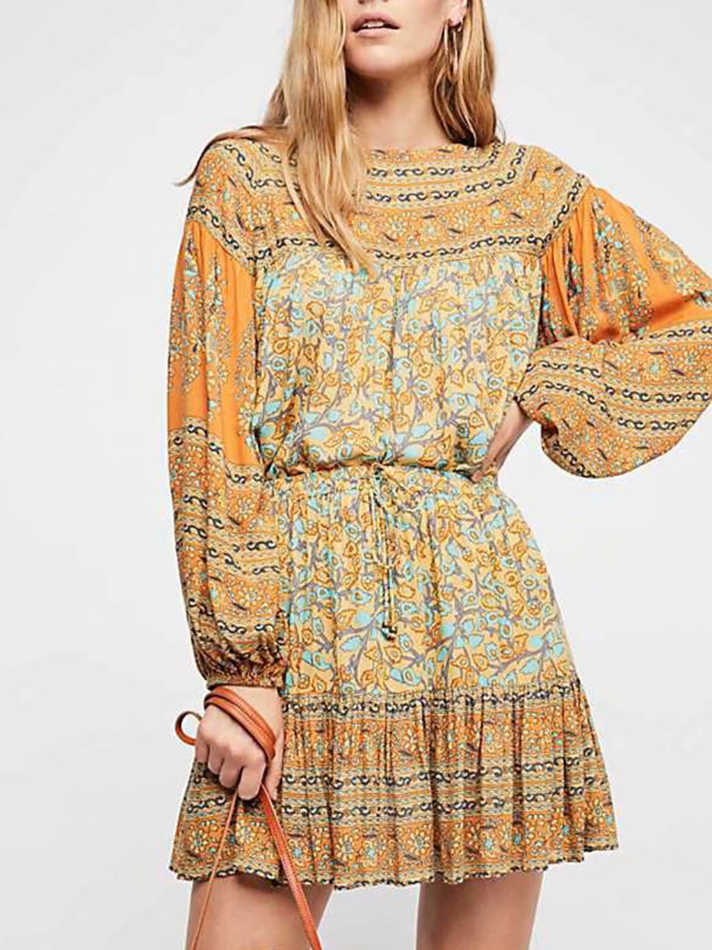 Green Plus Size Boho Printed Crew Neck Nipped Waist Blouses
