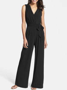 Sleeveless Surplice Neck Solid Jumpsuit