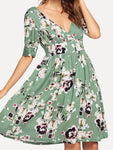 V Neck Green Women Summer Dresses Shift Daily Casual Dresses