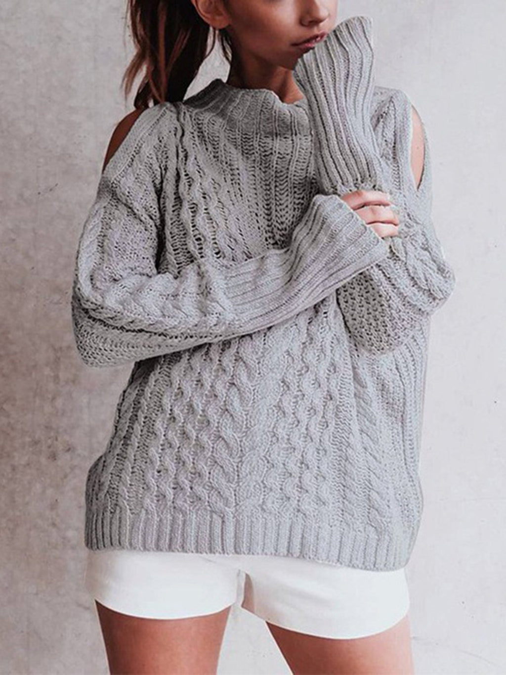 Cotton-Blend Solid Long Sleeve Sweaters