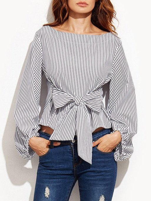 Black-white Shift Crew Neck Solid Casual Blouse