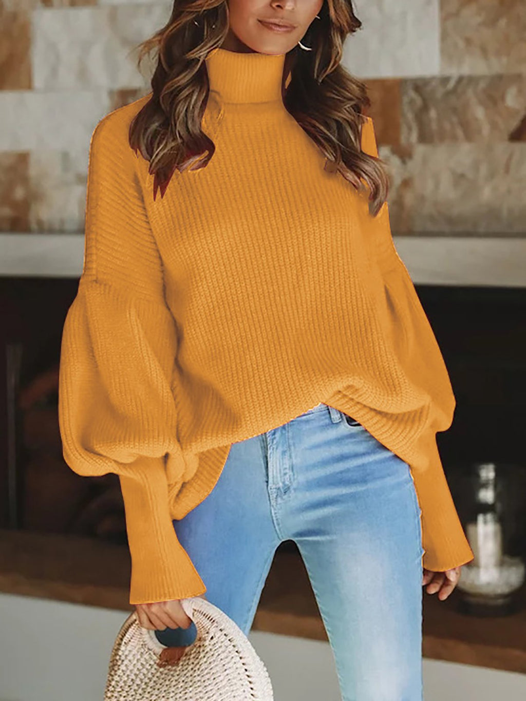 Knitted Balloon Sleeve Solid Casual Shift Sweater