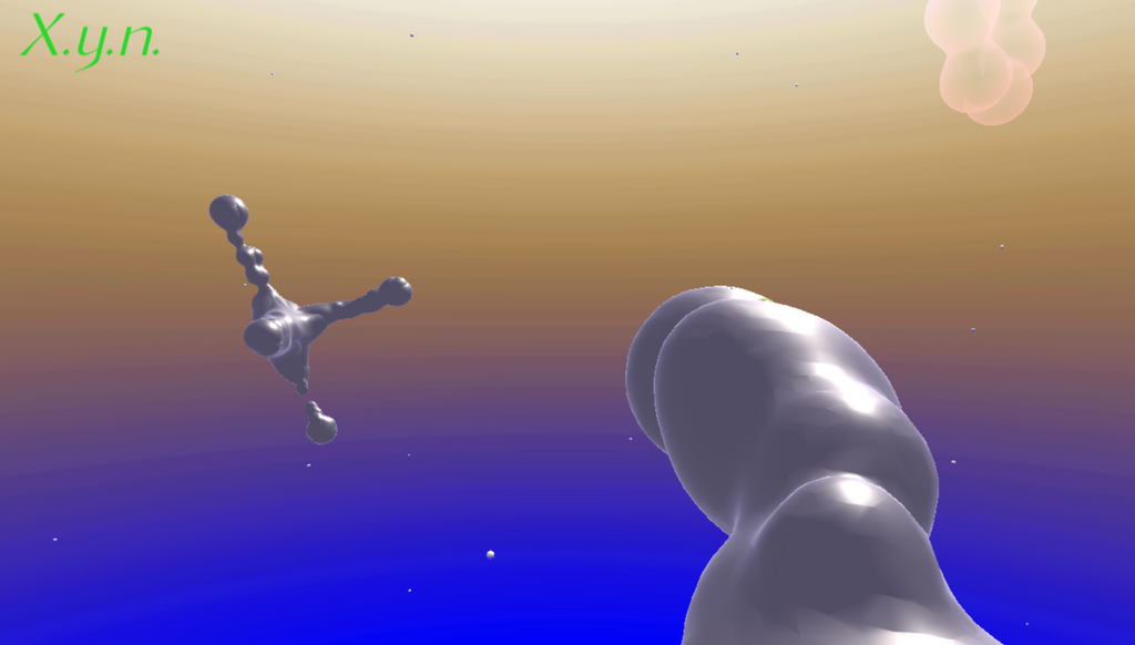 "Screengrab of 'A Motion for X.y.n.ing' by Kumbirai Makumbe in the ""Be Weightless"" room at Cyber Sanctuaries. An image of an aspatial place, perhaps somewhere in space as there is an orange sky gradient fading into deep blue at the bottom. Bulbous, grey floating objects permeate the space."