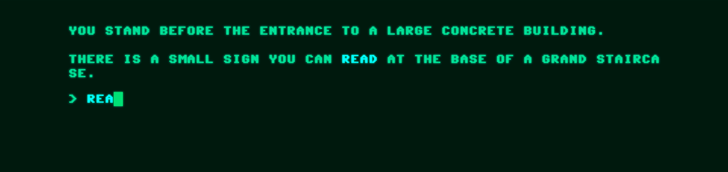 One of the prompts from The Museum of Generated Art, in green type text against a black background.