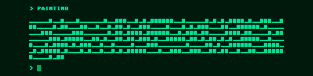 "A ""painting"" from The Museum of Generated Art. In green text against a black background is a randomly generated morse-code like text serving as a generated ""painting"" in the space."