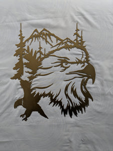 Eagle with Mountain and Trees