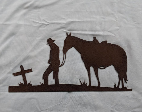 Cowboy and Horse Praying at Cross