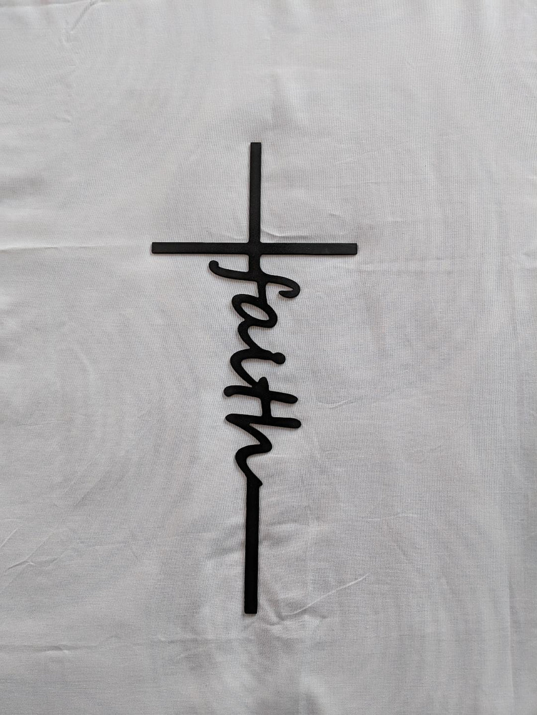 Cross with Faith written