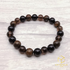 Protection bracelet - Black Tourmaline, Bronzite & Smokey Quartz