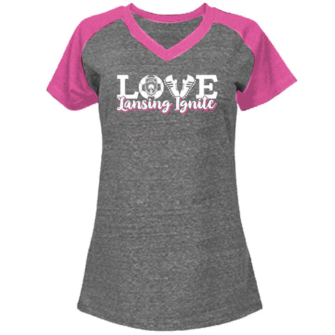 Lansing Ignite Girls V-Neck Raglan